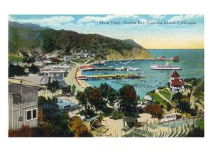 Santa Catalina Island, California - Panoramic View of Avalon and Bay by Lantern Press