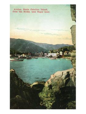 Santa Catalina Island, California - View of City from the Rocks by Lantern Press