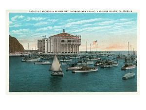 Santa Catalina Island, California - Yachts at Anchor in Avalon Bay by Lantern Press