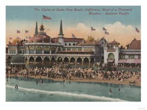 Santa Cruz, CA - Casino and Santa Cruz Beach by Lantern Press