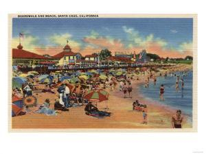Santa Cruz, CA - Sunbathers & Swimmers on Boardwalk & Beach by Lantern Press