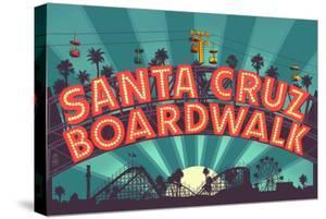 Santa Cruz, California - Beach Boardwalk Sign at Night by Lantern Press