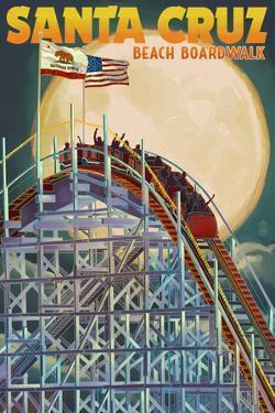 Santa Cruz, California - Big Dipper Coaster and Moon by Lantern Press