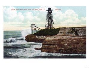 Santa Cruz, California - Cliff Drive View of the Wave Motor by Lantern Press