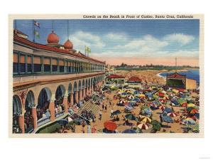 Santa Cruz, California - Crowds on the Beach in Front of Casino by Lantern Press