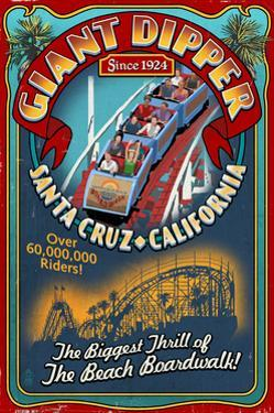 Santa Cruz, California - Giant Dipper Roller Coaster Vintage Sign by Lantern Press
