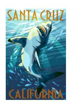 Santa Cruz, California - Great White Shark by Lantern Press