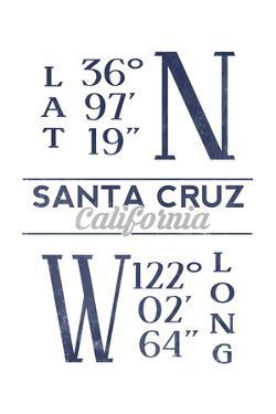 Santa Cruz, California - Latitude and Longitude (Blue) by Lantern Press