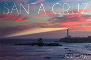 Santa Cruz, California - Lighthouse at Sunset by Lantern Press