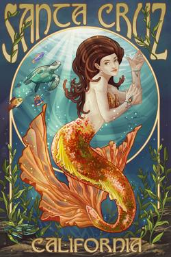 Santa Cruz, California - Mermaid by Lantern Press