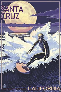 Santa Cruz, California - Night Surfer by Lantern Press