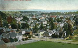 Santa Cruz, California - Panoramic View of Town by Lantern Press