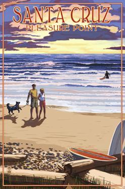 Santa Cruz, California - Pleasure Point Sunset Beach Scene by Lantern Press