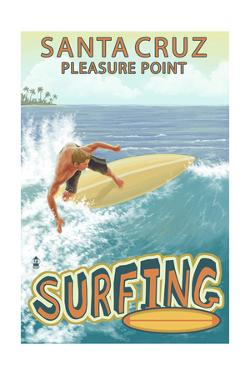 Santa Cruz, California - Pleasure Point Surfer Scene by Lantern Press