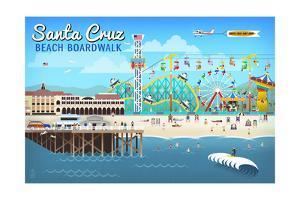 Santa Cruz, California - Retro Scene by Lantern Press