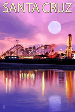 Santa Cruz, California - Rides and Moon at Twilight by Lantern Press