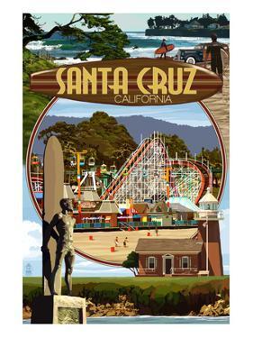 Santa Cruz, California - Scenes Montage by Lantern Press