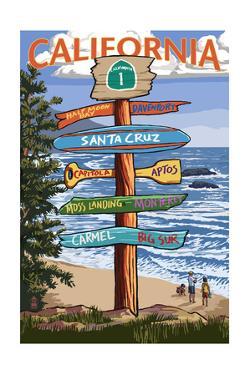 Santa Cruz, California - Signpost Destinations by Lantern Press