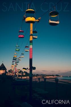 Santa Cruz, California - Sky Gliders at Night by Lantern Press