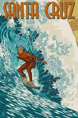 Santa Cruz, California - Stylized Surfer by Lantern Press