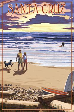 Santa Cruz, California - Sunset Beach Scene by Lantern Press