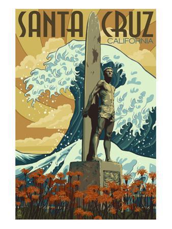 Santa Cruz, California - Surfer Statue by Lantern Press