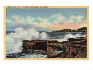 Santa Cruz, California - View of a Breaker on West Cliff Drive by Lantern Press