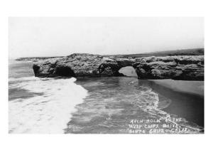 Santa Cruz, California - View of Arch Rock along West Cliff Drive by Lantern Press