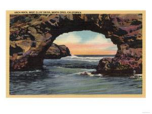 Santa Cruz, California - View of Arch Rock along West Cliff Drive by Lantern Press