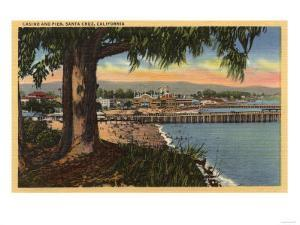 Santa Cruz, California - View of Casino & Pier from a Distance by Lantern Press