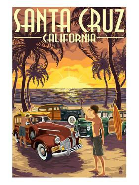 Santa Cruz, California - Vintage Woodies on the Beach by Lantern Press