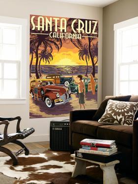 Santa Cruz, California - Vintage Woodies on the Beach by Lantern Press