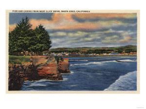 Santa Cruz, California - West Cliff Drive View of Pier and Casino by Lantern Press