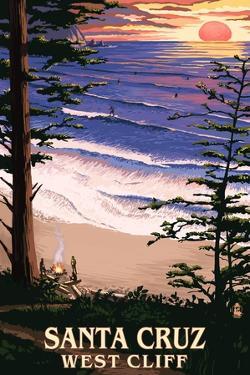 Santa Cruz, California - West Cliff Sunset and Surfers by Lantern Press