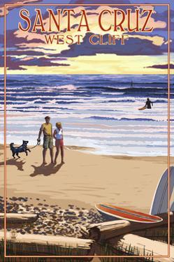Santa Cruz, California - West Cliff Sunset Beach Scene by Lantern Press