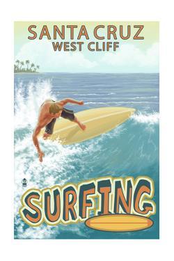 Santa Cruz, California - West Cliff Surfer Scene by Lantern Press