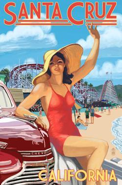 Santa Cruz, California - Woman Waving and Rides by Lantern Press