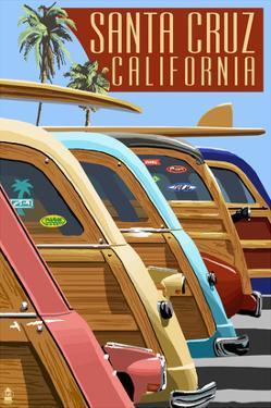Santa Cruz, California - Woodies Lined Up by Lantern Press