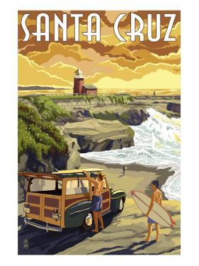 Santa Cruz, California - Woody and Lighthouse by Lantern Press