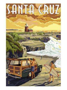 Santa Cruz, California - Woody and Lighthouse by Lantern Press