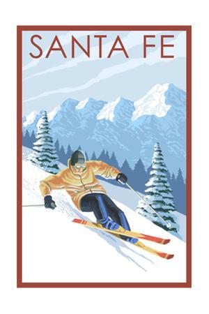 Santa Fe, New Mexico - Downhill Skier by Lantern Press