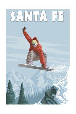 Santa Fe, New Mexico - Jumping Snowboarder by Lantern Press