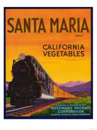 Santa Maria Vegetable Label - Santa Maria, CA by Lantern Press