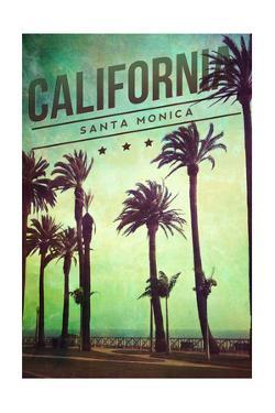 Santa Monica, California - Boardwalk and Palms by Lantern Press