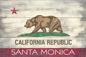 Santa Monica, California - California State Flag - Barnwood Painting by Lantern Press