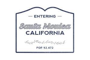 Santa Monica, California - Now Entering (Blue) by Lantern Press