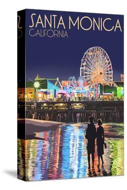 Santa Monica, California - Pier at Night by Lantern Press