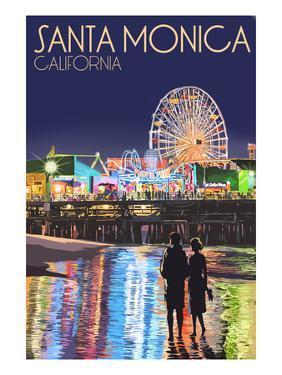 Santa Monica, California - Pier at Night by Lantern Press