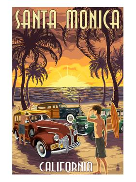 Santa Monica, California - Woodies and Sunset by Lantern Press