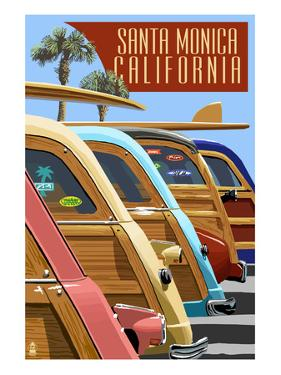 Santa Monica, California - Woodies Lined Up by Lantern Press